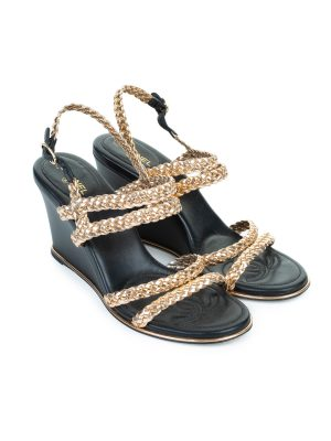 Gold Braided Cc Logo Wedge Sandals by Chanel - Le Dressing Monaco