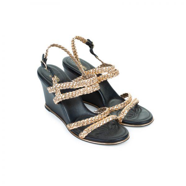 Gold Braided Cc Logo Wedge Sandals by Chanel - Le Dressing Monaco