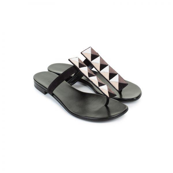 Suede Embellished T-Strap Sandals by Hermes - Le Dressing Monaco