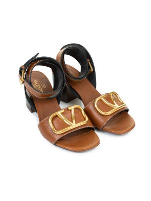 Brown Gold VLogo Leather Sandals by Valentino Garavani - Le Dressing Monaco