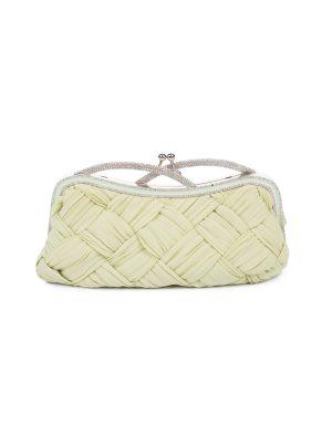Crystal Handle Light Green Silk Clutch by Valentino Garavani - Le Dressing Monaco