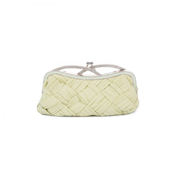 Crystal Handle Light Green Silk Clutch by Valentino Garavani - Le Dressing Monaco
