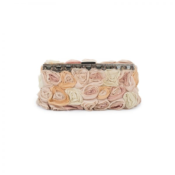 Rose Rosette Silk Georgette Clutch by Valentino Garavani - Le Dressing Monaco