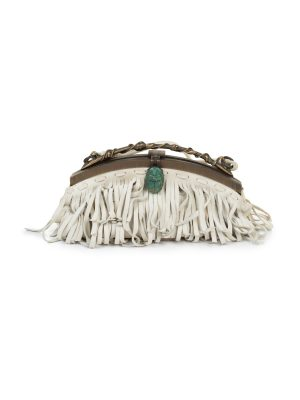 Scarab Embellished Fringed Clutch by Valentino Garavani - Le Dressing Monaco