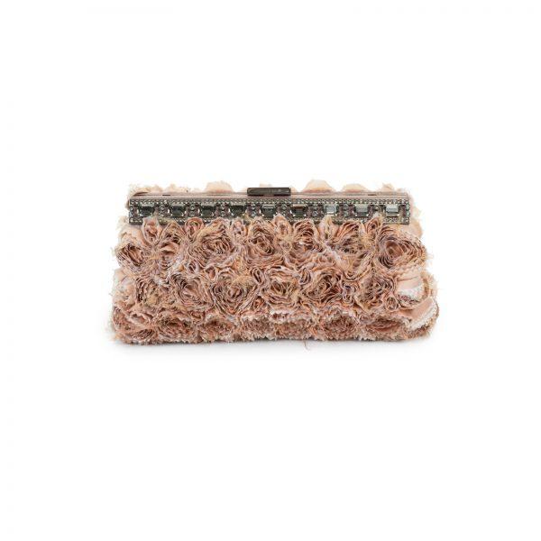 Pink Silk Georgette Rosette Clutch by Valentino Garavani - Le Dressing Monaco