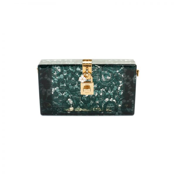 Green Taormina Lace Crystal Clutch by Dolce & Gabbana - Le Dressing Monaco
