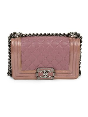 Pink Patent and Calfskin Duo Boy Bag by Chanel - Le Dressing Monaco