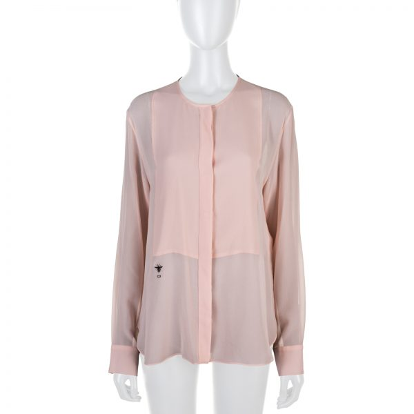 Pink Silk Canvas D-Bee Blouse by Christian Dior - Le Dressing Monaco