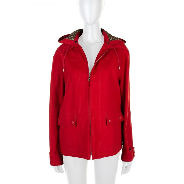 Red Hooded Monogram Lining Parka by Louis Vuitton - Le Dressing Monaco