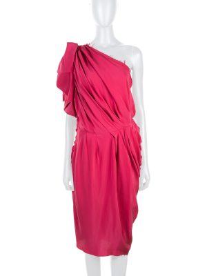 Asymmetric Draped Pink Silk Dress by Lanvin - Le Dressing Monaco