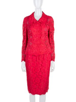 Pink Lace Jacket Skirt Suit by Valentino - Le Dressing Monaco