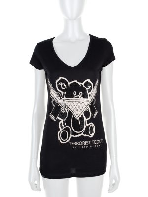 """Terrorist Teddy"" Crystal Embellished Top by Philipp Plein - Le Dressing Monaco"