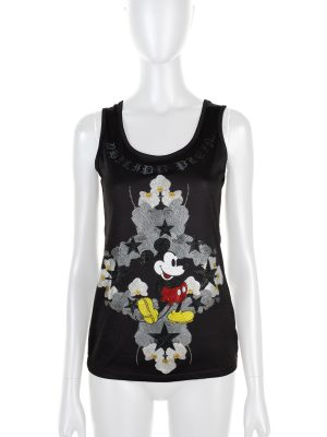 """Mickey Mouse"" Crystal Embellished Top by Philipp Plein - Le Dressing Monaco"