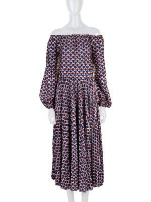 Off Shoulder Logo Printed Midi Dress by Valentino - Le Dressing Monaco