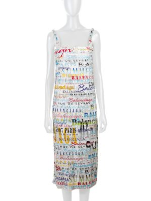 Crystal Embellished Printed Jersey Midi Dress by Balenciaga - Le Dressing Monaco