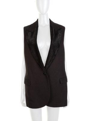 Black Sleevless Bimaterial Vest 2015 by Lanvin - Le Dressing Monaco