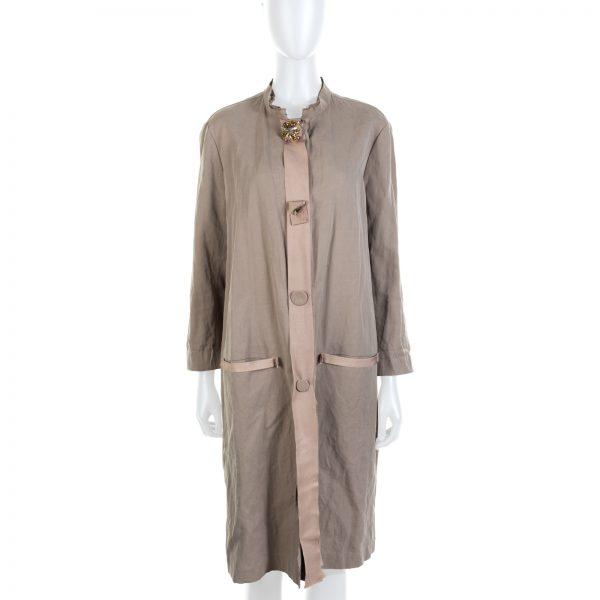 Beige Jewel Embellished Coat by Lanvin - Le Dressing Monaco