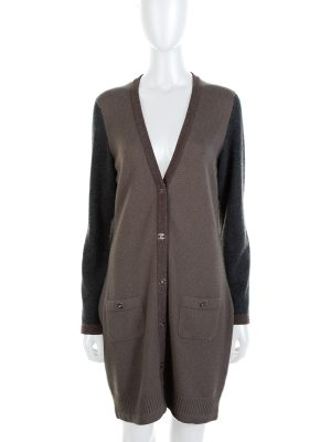 Tricolored Two Pockets Long Cardigan by Chanel - Le Dressing Monaco