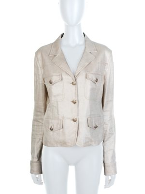 Beige Gold Buttonned Linnen Jacket by Chanel - Le Dressing Monaco