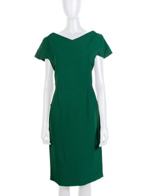 Fern Green Folded Sheath Dress by Roland Mouret - Le Dressing Monaco