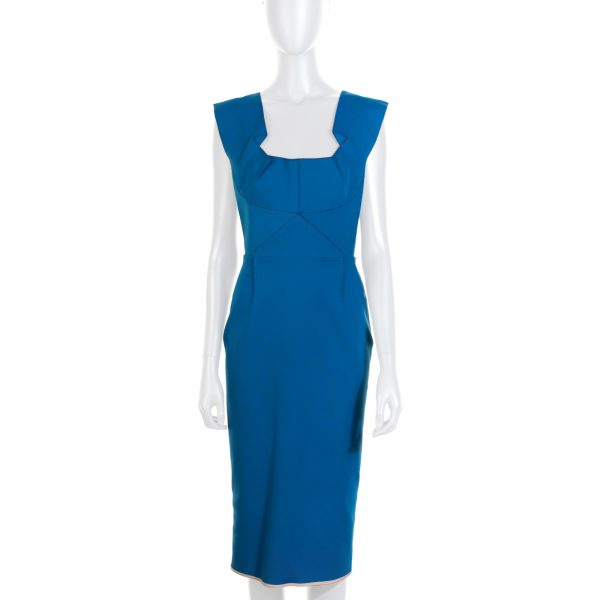 Blue Wilkes Pleated Ponte Dress by Roland Mouret - Le Dressing Monaco