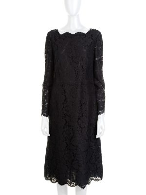 Black Zipped Lace Dress by Valentino - Le Dressing Monaco