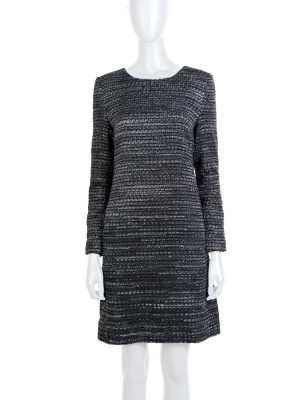 Grey Silver Boucle Two Pockets Dress by Chanel - Le Dressing Monaco
