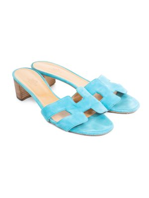 Turquoise Suede Oasis Sandals by Hermes - Le Dressing Monaco