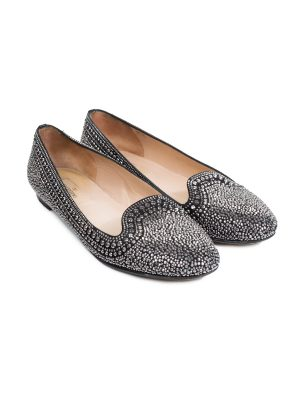 Silver Studded Black Flats by Valentino - Le Dressing Monaco