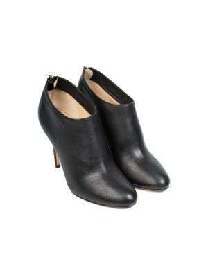 Black Zipped Leather Ankle Booties by Jimmy Choo - Le Dressing Monaco