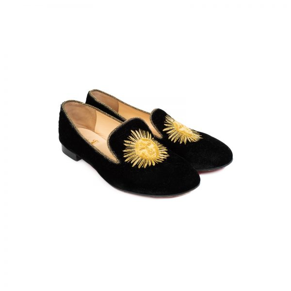Morning Sakouette Velvet Flat by Christian Lououtin - Le Dressing Monaco