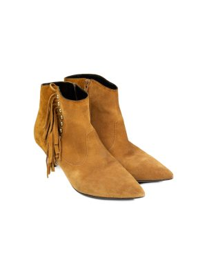 Fringe Studded Suede Ankle Boots by Saint Laurent - Le Dressing Monaco