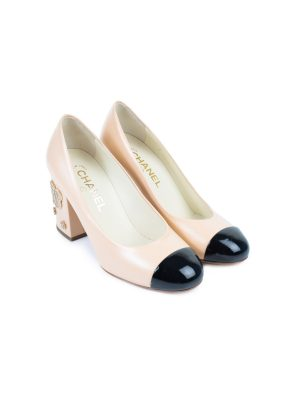 Camellia Embellished Cap Toe Pumps by Chanel - Le Dressing Monaco