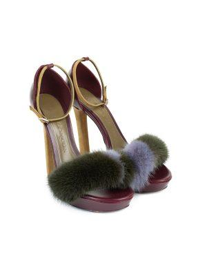 Claret Mink Sandals by Alexander McQueen - Le Dressing Monaco