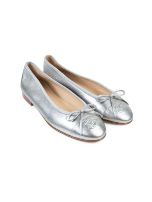 Silver Leather Cap Toe Flats by Chanel - Le Dressing Monaco