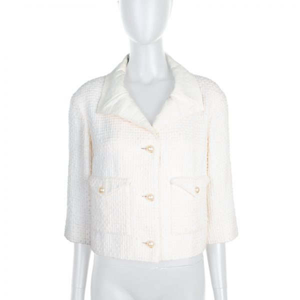 White Leather Collar Boucle Jacket by Chanel - Le Dressing Monaco