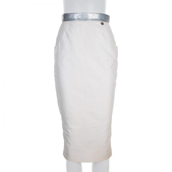 Silver Belted Crayon Leather Skirt by Chanel - Le Dressing Monaco