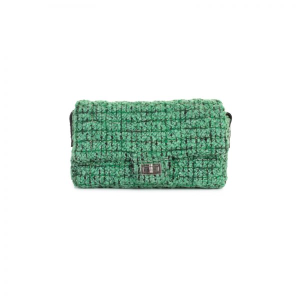 Green Tweed Crossbody Flap Bag by Chanel - Le Dressing Monaco