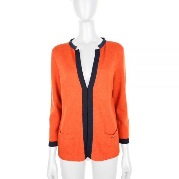 Orange Navy Cashmere Cardigan by Chanel - Le Dressing Monaco