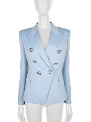 Light Blue Wool Twill Blazer Jacket by Balmain - Le Dressing Monaco