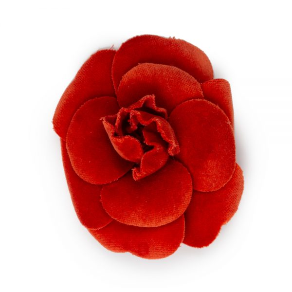 Red Velvet Camellia Brooch by Chanel - Le Dressing Monaco