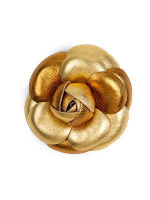 Two Tone Gold Leather Camellia Brooch by Chanel - Le Dressing Monaco