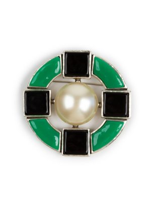 Black Green Molten Round Brooch by Chanel - Le Dressing Monaco