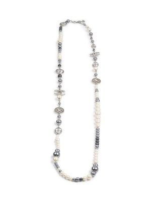 Silver White Pearls CC Necklace by Chanel - Le Dressing Monaco