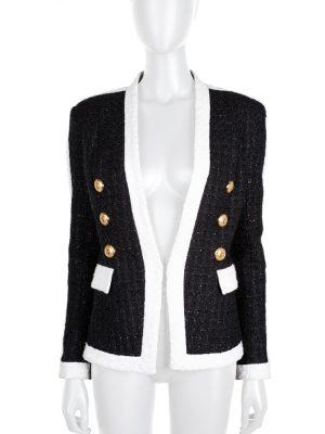 Black White Gold Buttoned Lurex Blazer by Balmain - Le Dressing Monaco