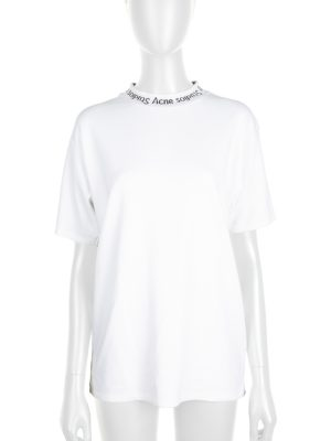 White Navid Neck Logo Tee-Shirt by Acne Studio - Le Dressing Monaco