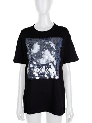 Black Moonlover Sequin Tee-Shirt by Valentino - Le Dressing Monaco