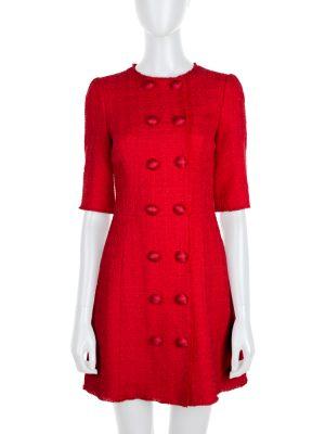 Red Buttoned Bouclé Dress by Dolce e Gabbana - Le Dressing Monaco