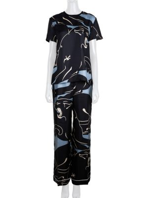 Silk Blue Black Panther Pyjama by Valentino - Le Dressing Monaco