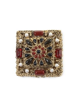 Red Black Beaded Gold Brooch by Chanel - Le Dressing Monaco